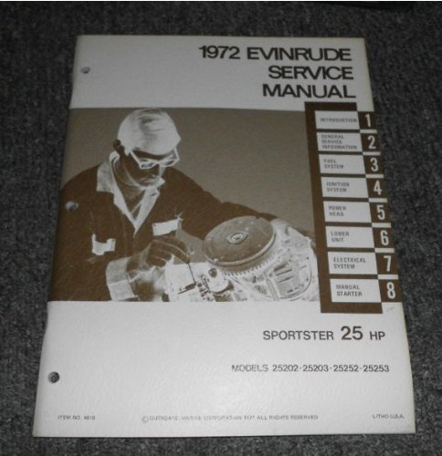 25 Hp Owners Manual (1972 Evinrude Sportster 25 HP Service Manual OEM)
