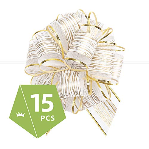 PACKQUEEN 15 White Gift Bows Large, 6 inches, Gift Pull Bows for Presents, Gift Bows Bulk for Baskets