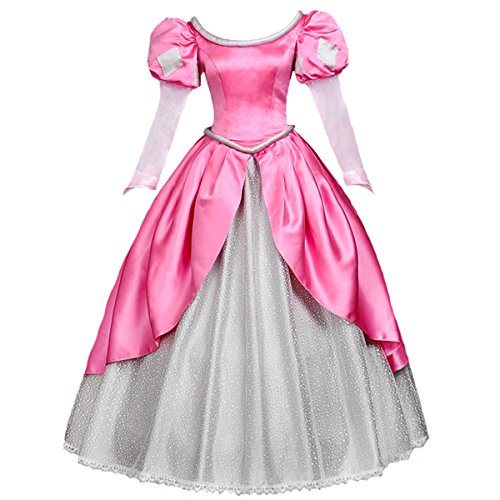 Angelaicos Womens Princess Dress Lolita Layered Party Costume Ball Gown (L, Pink) -