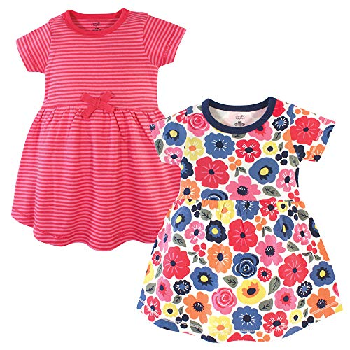 Touched by Nature Baby Girl Organic Cotton Dresses, Bright Flower Short Sleeve 2 Pack, 6-9 Months (9M)