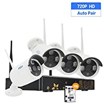 PLV 720P HD Wireless 1MP Outdoor Security Network Camera with 4 Channel Wifi NVR CCTV Surveillance Systems Support Smartphone Remote View 1TB Hard Disk Included, 100ft Night Vision