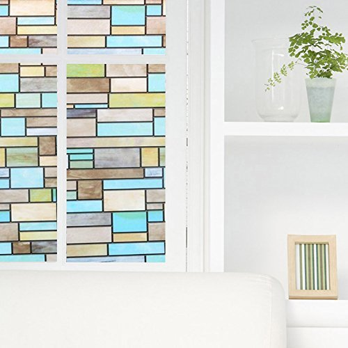 niviy privacy window covering brick stained glass window film waterproof static 602773709854 ebay. Black Bedroom Furniture Sets. Home Design Ideas