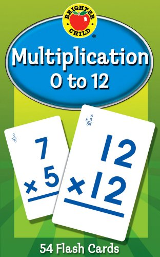 Carson Dellosa - Multiplication Flash Cards Factors 0 to 12 - 54 Cards with 100 Problems for 3rd and 4th Grade Math, Ages 8+ with Bonus Game Card (Brighter Child Flash Cards)