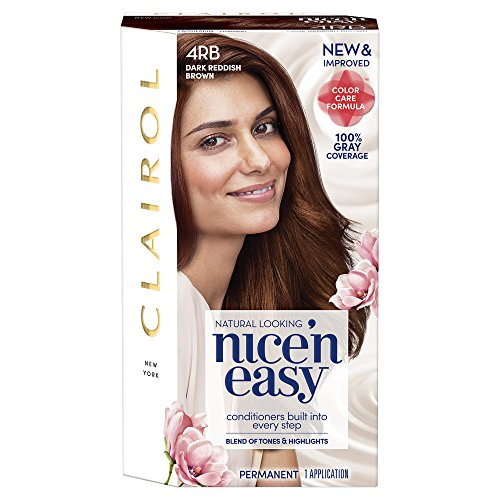 Clairol Nice 'n Easy Permanent Hair Color, 4Rb Dark Reddish Brown, 1 Count, Brunettes