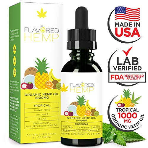 Hemp Oil - Zero THC CBD Oil Cannabidiol - 1000 MG - Tropical Flavor - 100% Organic Hemp Extract Drops - Natural Pain Stress Anxiety Relief & Improves Overall Health - Grown & Made in The USA