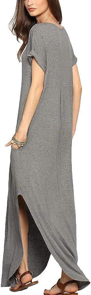 Dresses for Women Brooch Maxi Dress Short Sleeve V Neck Slit Hem Casual Summer Party Long Sundress