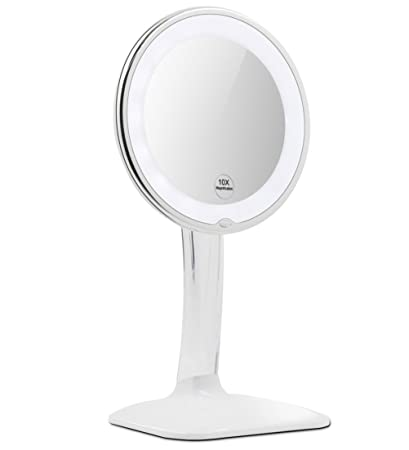 vanity mirror on stand. Terresa 10X Magnifying Lighted Makeup Mirror with Acrylic Stand  Lightweight and Round Ring Light Amazon com