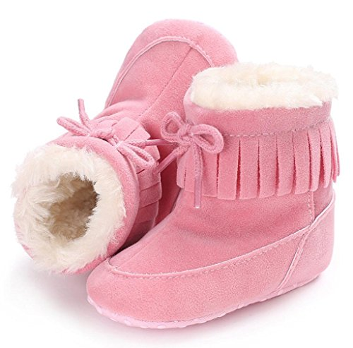 Morecome Toddler Crib Shoes Soft Snow Boots Baby boy girl Boots (2.5, Pink)