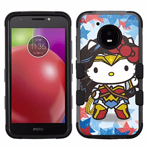 Motorola Moto E4 Case, Hard+Rubber Dual Layer Hybrid Heavy-Duty Rugged Armor Cover Case - Hello Kitty #WonderWoman