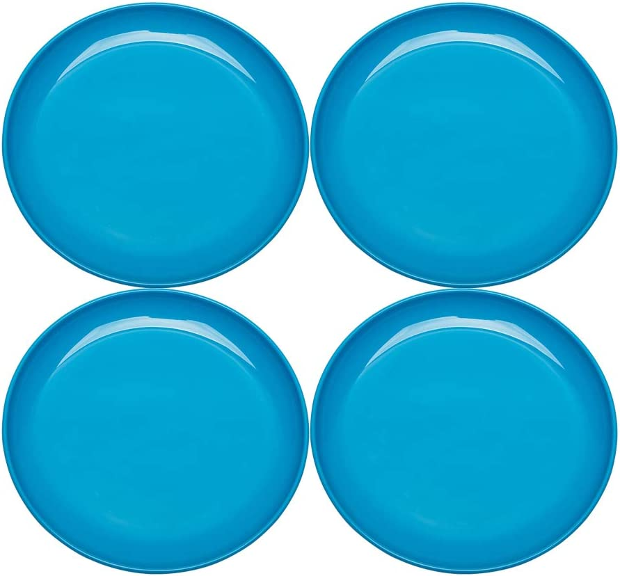 Perfect for Party Home Camping Blue Color COOKY.D Unbreakable BPA Free Colorful Tritan-Plastic Dessert//Snack//Dinner Plates 19.5cm Set of 4 Dishwasher Safe /& BPA Free