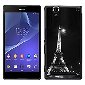 LECELL--Funda protectora / Cubierta / Piel For Sony Xperia T2 Ultra -- Arquitectura Moonlight Blanco y Negro Eiffel --