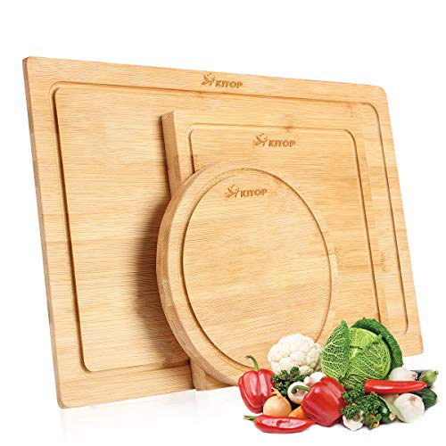 Bamboo Cutting Board Set of 3 - Wood Serving and Chopping Boards with Juice Groove for Cutting Vegetables, Meat, Fruits and Cheese | 100% Bamboo Butcher Block, BPA -