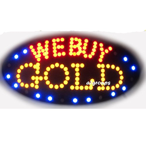 2xhome - We Buy Gold - High Visible Bright Big Chip Led Moving Flashing Animated Sign Colors Neon Business Motion Light Sign On Off Switch Button Chain 19x10 for Jewelry Jeweler Watch Repair Pawn Shop Store Wall Window - Watch Chain Off