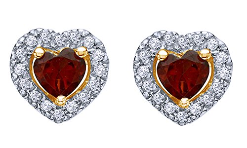 Simulated Garnet & Natural Diamond Frame Stud Earrings 14K In 925 Sterling Silver (0.14 ct) 14k Yg Frame