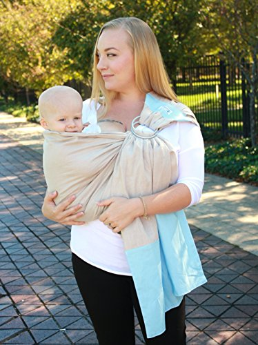 Snuggy Baby Linen Banded Ring Sling Baby Carrier - Sand & Sky
