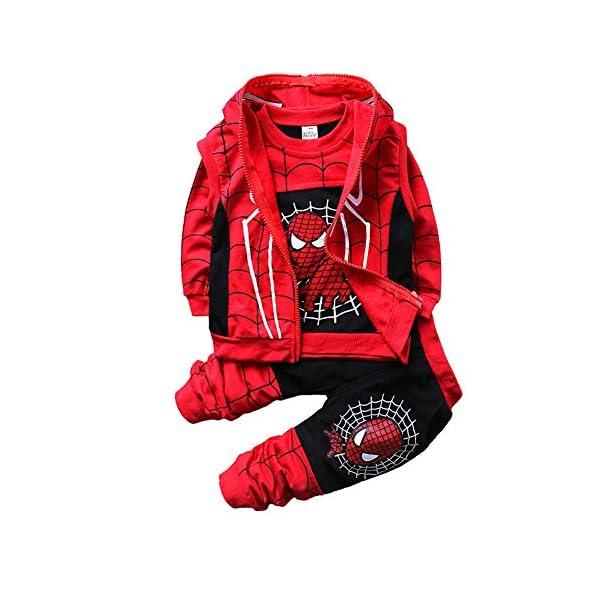 Set di Abbigliamento Bambini Completino Spiderman Maniche Lunghe Tute Ragazze Felpa con Cappuccio Camicie e Pantaloni… 1