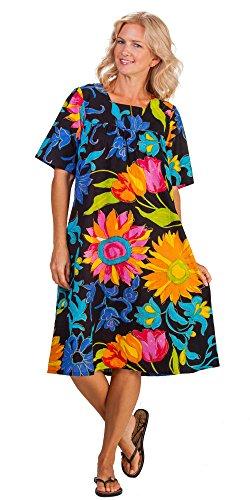 279a1a3a676fd La Cera Float Dresses - Cotton Short Sleeve House Dress in Neon Garden