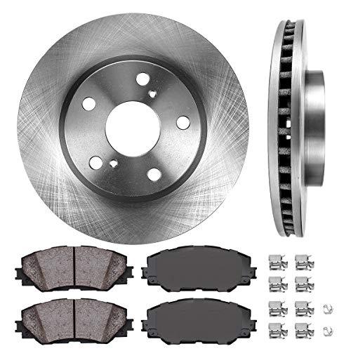 FRONT 275 mm Premium OE 5 Lug [2] Brake Disc Rotors + [4] Ceramic Brake Pads + Clips