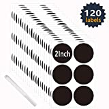Round Chalk Stickers Write-on Labels,Waterproof Reusable Chalkboard Vinyl Label with 1 White Chalk Marker (2 Inch | 120PCS)