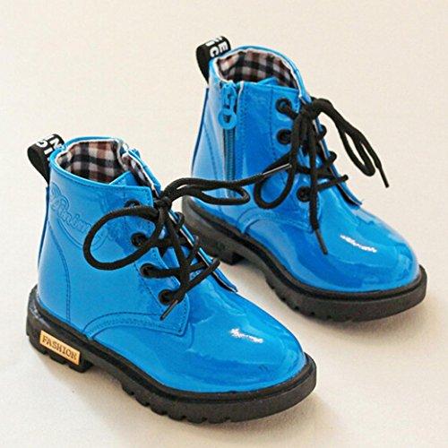 TPulling Herbst Und Winter Mädchen Mode Kinder Martin Stiefel Wasserdichte Stiefel Blau