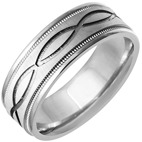 Gold White Band Bridal Celtic (14K White Gold Celtic Infinity Knot Men's Comfort Fit Wedding Band (7mm) Size-12.5c1)