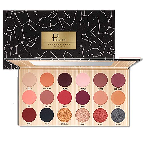 18 Colors Pearl Eye Shadow Powder Palette Matt Eyeshadow Cosmetic Makeup matte and shimmer eyeshadow palette eyeshadow pigments make up palette (Black)