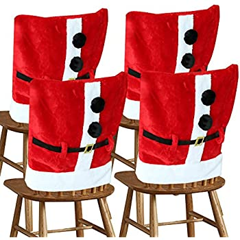 D FantiX Santa Claus Suit Christmas Chair Covers With Belt Buckle Dining Room Cover