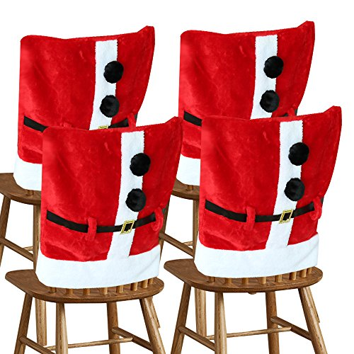 D-FantiX Santa Claus Suit Chair Covers with Belt Buckle Christmas Dining Room Chair Cover Home Decor (Pack of 4)
