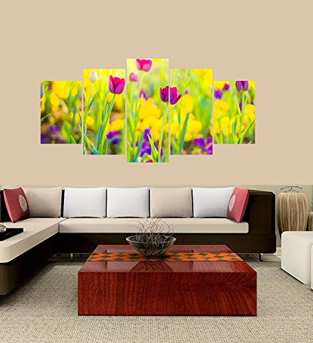 Canvas Printed Wall Art Poster 5 Pieces/5 Pannel Wall Decor Tulips