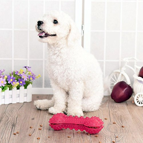 best Dog Chew Toys Dispenser Interactive Safe Healthy Rubber Bone Shape Food Dispensing Dog Toy Puzzle