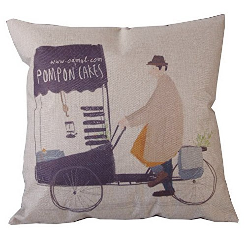 Men with Bicycle Square 18*18 Cotton Linen Cushion Case Bike