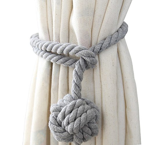Chictie Natural Cotton Handmade Ball Knot Curtain Rope Cords Tiebacks Holdbacks Vintage American Rural Style Drapery Tiebacks Tie Band,Set of 2 (Light grey)