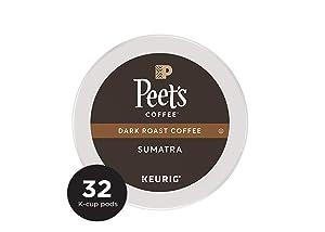 Peet's Coffee Single Origin Sumatra, Dark Roast, 32 Count Single Serve K-Cup Coffee Pods for Keurig Coffee Maker