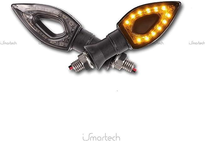Senmubery 2 INDICATORE di DIREZIONE FRECCE Luce Moto Ambra 12 LED SMD