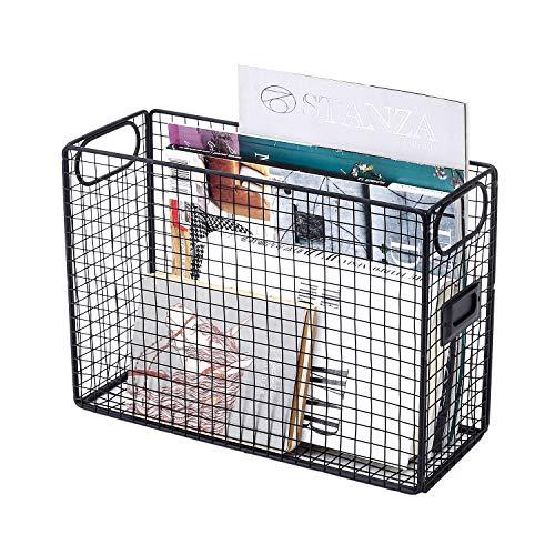 GoldOrcle Desk Organizer File Organizer Mesh Wire Metal Document Food Storage Baskets Bins File Holder with Label Holder, Black ()