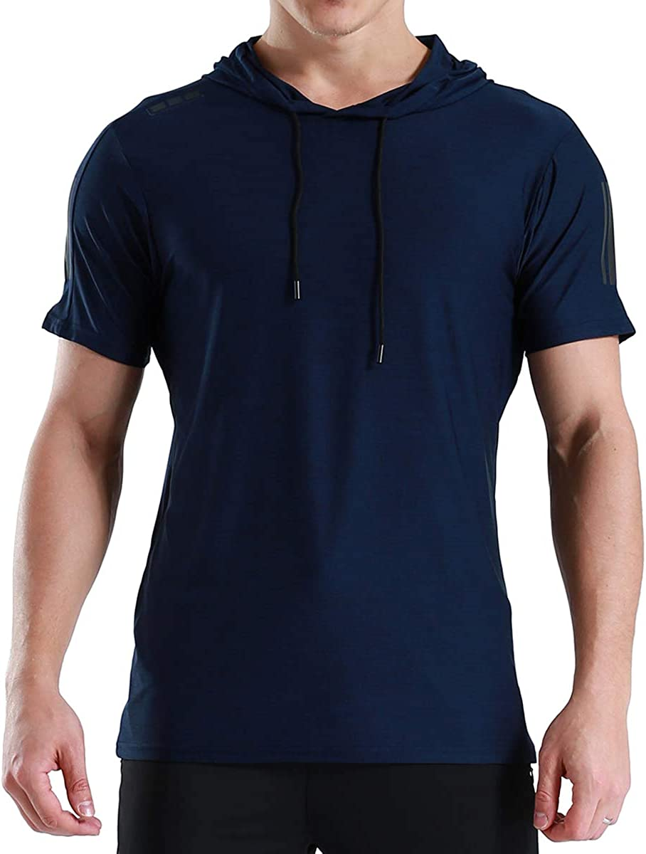 Gopune Mens Performance Long and Short Sleeve Shirt Gym Workout Active Muscle Bodybuilding Hooded