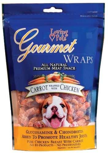 Loving Pets All Natural Premium Carrot and Chicken Wraps with Glucosamine and Chondroitin Dog Treats, 6-Ounce