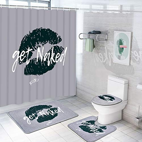 4 Pcs Funny Get Naked Shower Curtain Set with Non-Slip Rug, Toilet Lid Cover, Bath Mat and 12 Hooks, Get Named Waterproof Shower Curtain Set for Bathroom