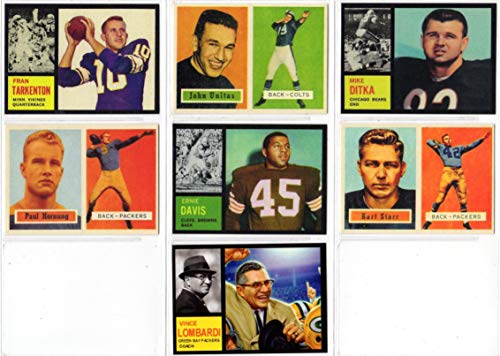 Topps Football Rookie Reprint (7) Card Lot **featuring Fran Tarkenton, Johnny Unitas, Mike Ditka, Paul Hornung, Ernie Davis, Bart Starr, and a custom 1962 Vince Lombardi ** (Colts) (Browns) (Packers) (Bears) (Vikings) (Paul Fran)