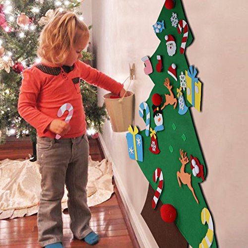 Aytai DIY Felt Christmas Tree Set with Ornaments for Kids, Xmas Gifts, New Year Door Wall Hanging Decorations (Felt Ornaments)
