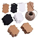 eBoot 200 Pieces Craft Paper Tags Kraft Gift Tags Hang Labels Valentine's Day Tags with 30 Meters Natural Twine