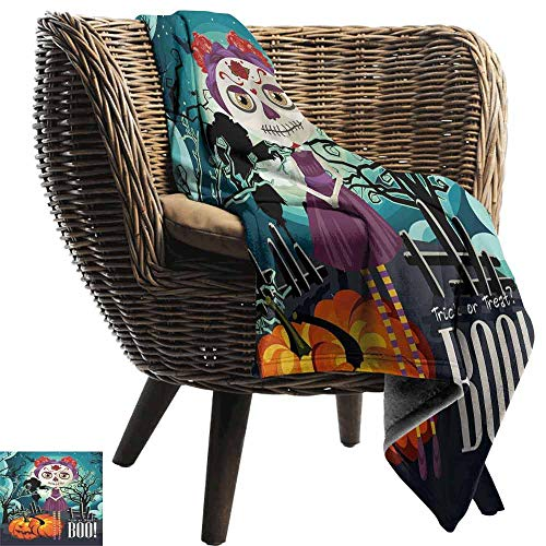 vanfan-home Halloween Warm Blanket,Cartoon Girl with Sugar Skull Makeup Retro Seasonal Artwork Swirled Trees Boo Printing Throw Blanket for Bed -
