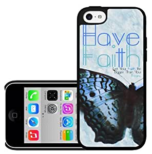 Blue Beautiful Butterfly 'Have Faith' Hard Snap on Phone Case (iPhone 5c)