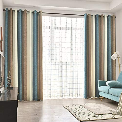 Chenille Blackout Curtains Panels for Living Room Beige Blue Brown Stripes Colorful Room Darkening Cloth Thermal Insulated Grommet Curtain Drapes for Bedroom Window Treatment Set of 2, W75 x L84 inch