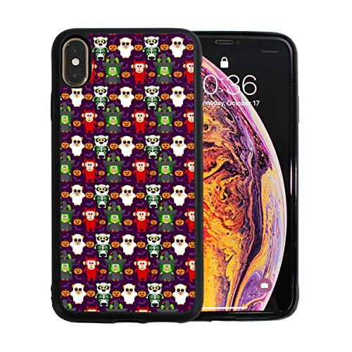 Pandas Halloween Funny iPhone Xs Max Case. TPU + Pearl Plate + PC Material Cover Case Drop Protection Multifunction Shock Absorption Phone Case for iPhone Xs Max