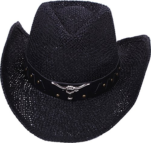 Simplicity Men / Women's Summer Woven Straw Cowboy Hat, 2042_Black -