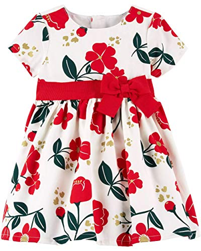Floral Large Bow Ships (Carter's Baby Girls Floral Holiday Dress - 3 Months)