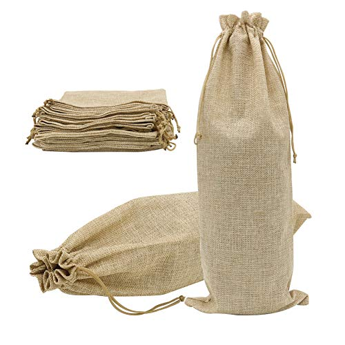 Drawstring Wine - Shintop 10pcs Jute Wine Bags 1.5L, 16 x 6.7 inches Hessian Wine Bottle Gift Bags with Drawstring (Brown)