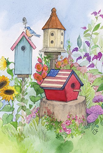 Americana Birdhouse Garden Flag - Toland Home Garden Old Glory Birdhouse 12.5 x 18 Inch Decorative Cute Spring Summer Bird Flower Garden Flag