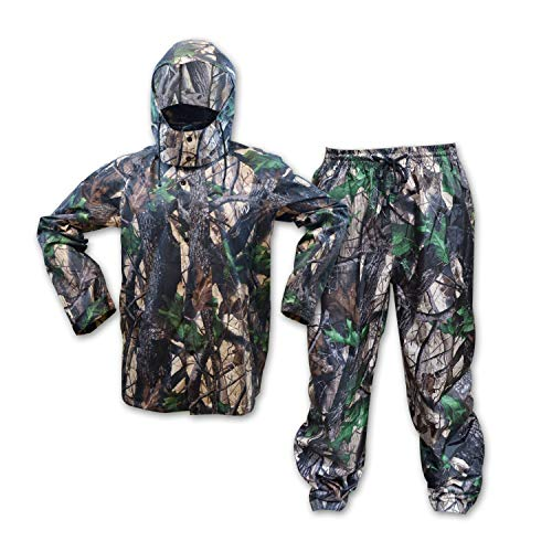 KwikSafety (Charlotte, NC Huntsman Camouflage Hunting RAIN Suit | All Year Outdoor Recreational Wear Waterproof Windproof Quick Dry Long Sleeve Hood Zip Up Bottom Fishing Shooting Camo Gear | Large